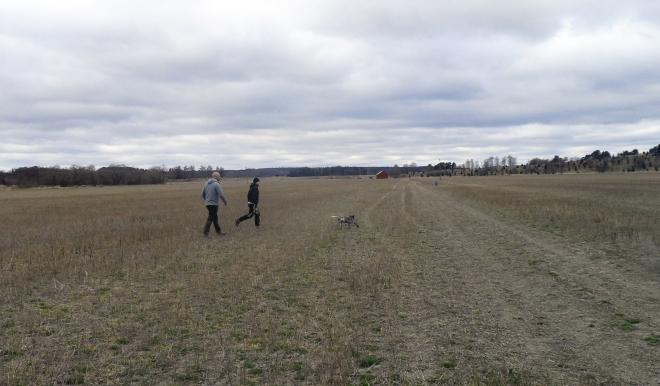 Vi fick träna söktaktik på ett stort fält.